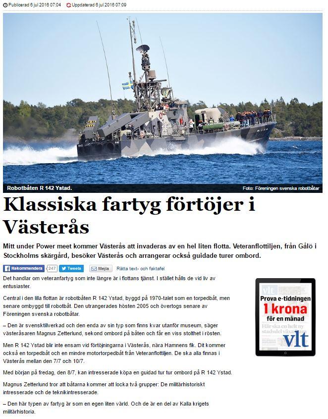 Västerås Tidning 6 juli 2016