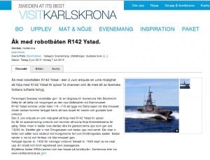 Turistbyrån i Karlskrona annonserar om att åka med Rbb Ystad